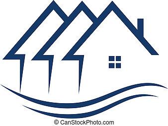 реальный, houses, вектор, имущество, логотип