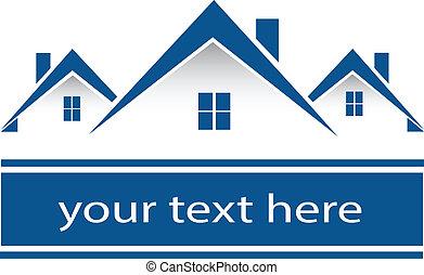 реальный, houses, логотип, имущество