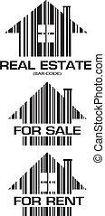 реальный, houses, barcode, имущество