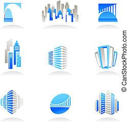 реальный, logos, имущество, icons, /, строительство