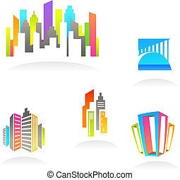 реальный, logos, имущество, icons, -, /, 3, строительство