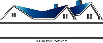 реальный, roofs, логотип, имущество, houses