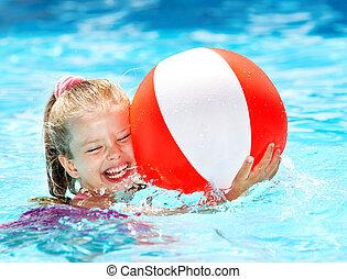 ребенок, плавание, pool.