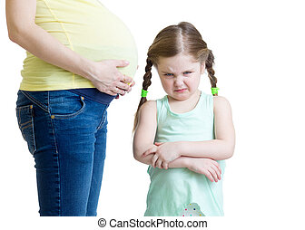 ревнивый, мама, дитя, ее, беременная