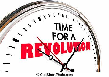 революция, часы, большой, иллюстрация, нарушение, время, изменение, 3d
