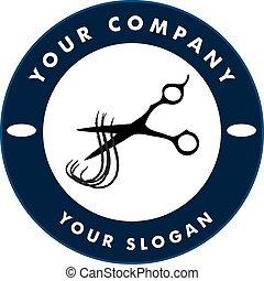 резка, волосы, scissors, нитка, логотип, солон