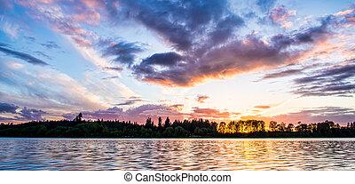 река, закат солнца, через, красочный