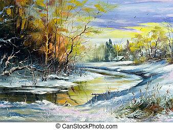 река, зима, деревня