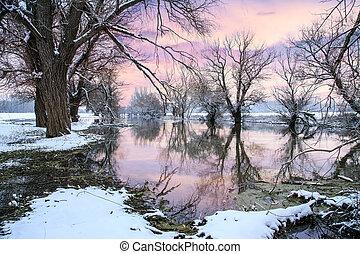 река, зима, пейзаж, zagyva
