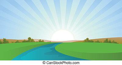 река, мультфильм, пейзаж