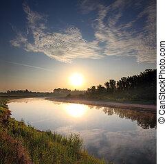 река, пейзаж, восход
