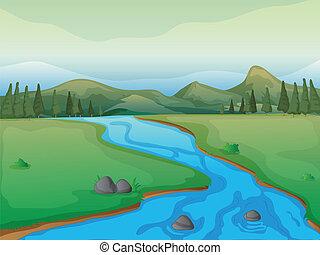 река, mountains, лес