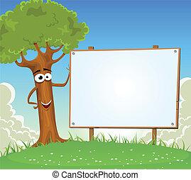 рекламный щит, весна, дерево, держа, пустой