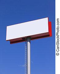 рекламный щит, синий, над, небо, пустой