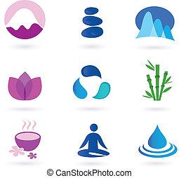 релаксация, значок, оздоровительный, йога