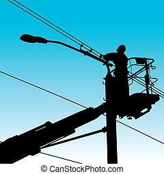 ремонт, illustration., мощность, pole., электрик, вектор, изготовление