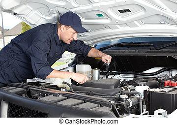 ремонт, service., за работой, авто, механик, автомобиль