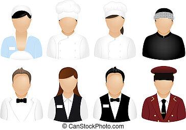 ресторан, люди, icons