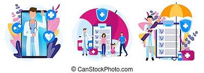 рецепт, здоровье, theme., задавать, семья, medicines., illustrations, insurance., медицинская