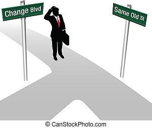 решение, одна и та же, человек, выберите, или, изменение