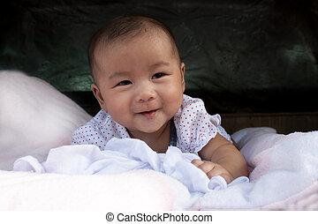 родился, младенец, новый, постель, лицо