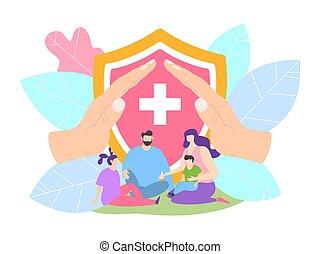 родитель, hospital., защита, клиника, концепция, защищенный, семья, вектор, children, illustration., жизнь, страхование, здоровье