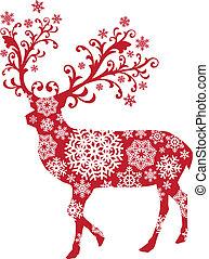 рождество, вектор, олень