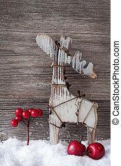 рождество, деревянный, олень