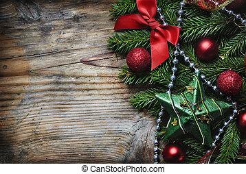 рождество, задний план, деревянный
