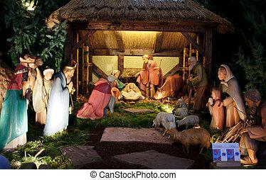 рождество, мудрый, &, люди, три, место действия, gifts, джозеф, иисус, presenting, детка, мэри, рождество