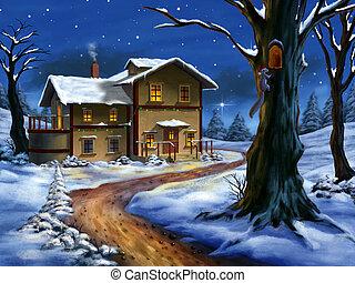 рождество, пейзаж
