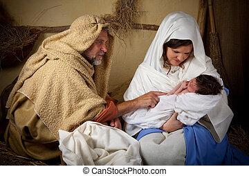 рождество, семья, воссоздание