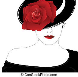 роза, женщина, шапка