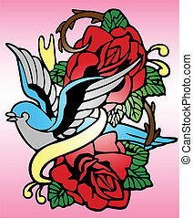 роза, племенной, птица, тату