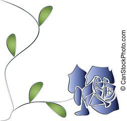 роза, leaves, вектор, серебряный, стебель
