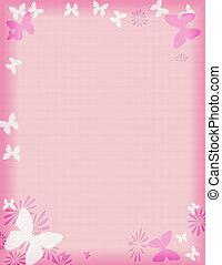 розовый, бабочка, граница