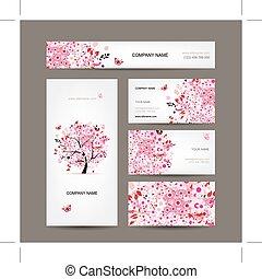 розовый, бизнес, дерево, cards, дизайн, цветочный