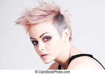 розовый, волосы, панк, молодой, женский пол