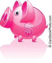 розовый, доллар, поросенок, банка, знак