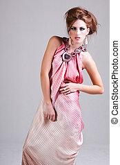 розовый, женщина, платье, молодой, привлекательный