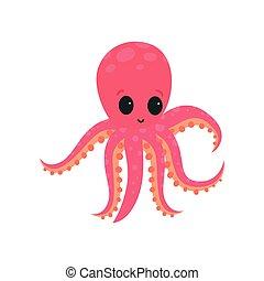 розовый, квартира, осьминог, сеть, карта, большой, наклейка, шесть, блестящий, вектор, получение, распечатать, или, tentacles., дизайн, wildlife., моллюск, soft-bodied, eyes., морской, мультфильм
