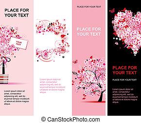 розовый, лето, вертикальный, дизайн, цветочный, banners, ваш