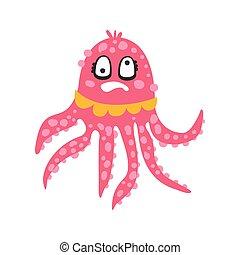 розовый, милый, риф, голова кружится, веселая, коралловый, персонаж, иллюстрация, океан, вращающийся, вектор, животное, eyes, осьминог, мультфильм