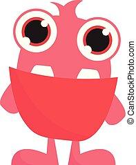 розовый, монстр, цвет, большой, вектор, eyes, или, illustration.