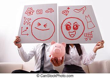 розовый, пара, поросенок, банка, счастливый