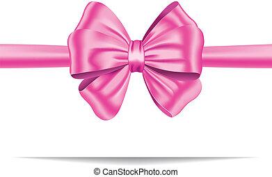 розовый, подарок, лента, лук