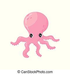 розовый, подводный, creature., вектор, морской, животное, красочный, квартира, осьминог, персонаж, длинный, eyes., блестящий, tentacles., море, большой, wildlife., adorable, мультфильм, значок