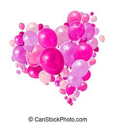 розовый, пурпурный, летающий, balloons