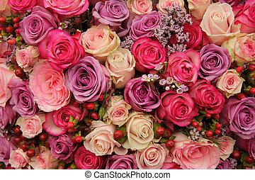розовый, пурпурный, roses, свадьба, договоренность
