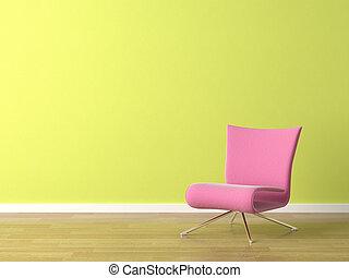 розовый, стена, стул, зеленый